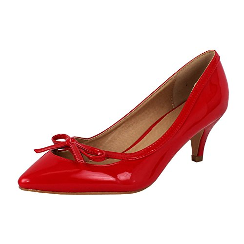 Guilty Shoes Womens Deco Embellished Classic Elegant Closed Pointy Toe Low Kitten Heel Dress Pump Shoes Heeled-Sandals, 17-Red-Patent, - Heel Pointy Shoes High