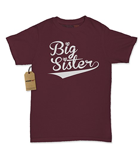 Womens Big Sister T-Shirt Large Maroon (Big Sister Womens T-shirt)