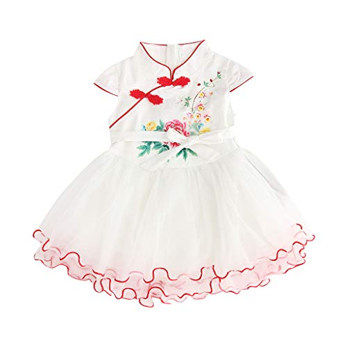 Kehen- Kid Toddler Girls Dress Cheongsam Christening Baptism Party Formal Dress White ()