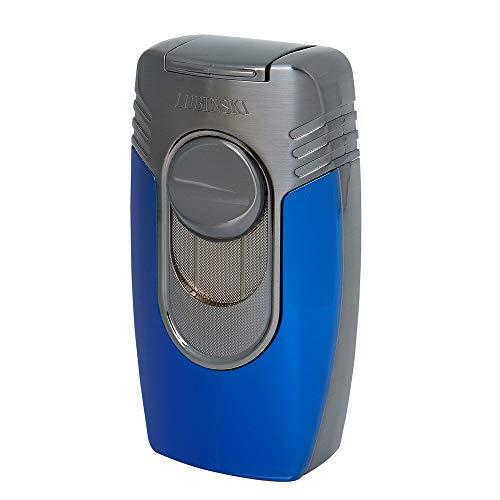 LUBINSKI Fashion Cigar Lighter Windproof Butane Refillable Quadruple Torch Jet Blue Flame Cigar Lighter for Cigar Cooking BBQ Topsense Black Friday Deal (Blue)