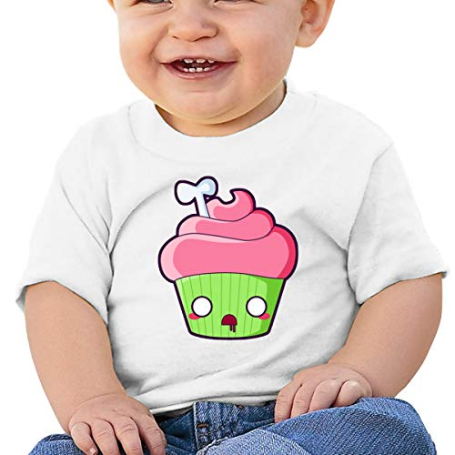 Qiop Nee Comical Bone Cupcake Short Sleeve Tshirt Baby Boys White