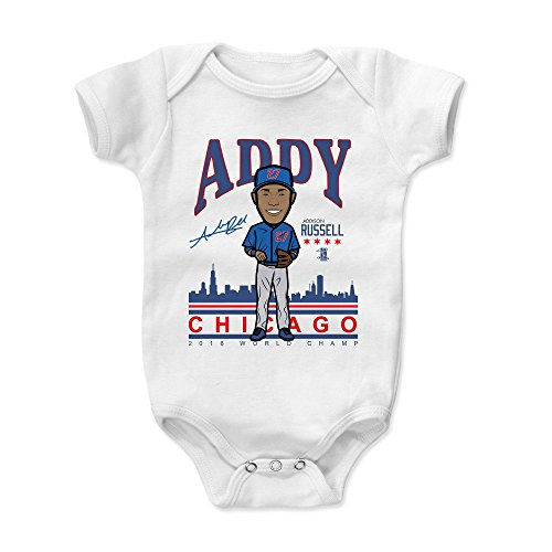500 LEVEL Addison Russell Baby Clothes, Onesie, Creeper, Bodysuit 6-12 Months White - Chicago Baseball Baby Clothes - Addison Russell Addy BR ()