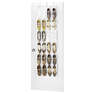 """Zober Clear Over the Door Shoe Organizer - 24 Stitch-Secured Pockets, Hanging Closet Organizer for Shoes, Socks, Ties, Toiletries and Other Accessories 64"""" L x 18"""" W"""