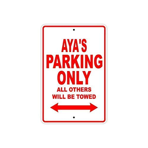 "Safety Sign Novelty Signs,12""x16""Aya's Parking Only All Others Will Be Towed Safety Warning Business Signs Commercial Metal Sign Metal Aluminum"