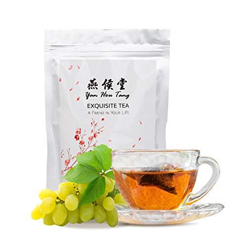 Yan Hou Tang Organic Taiwan Fresh White Grape Oolong Tea Bags - 50 Counts 150gram Teabags Full Loose spice Leaf sachet Mixed Flavored Fruits and Flowers Hot Ice Drinking Taste