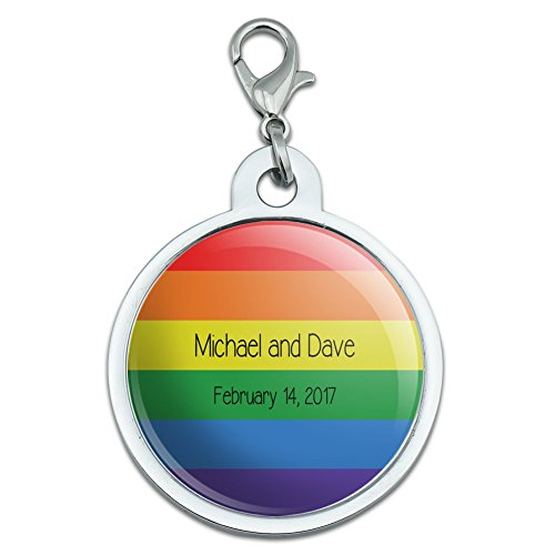 Graphics and More Personalized Custom Pride Rainbow Wedding Anniversary LGBTQ Gay Lesbian Transgender Queer Bisexual Chrome Plated Metal Small Pet ID Dog Cat Tag