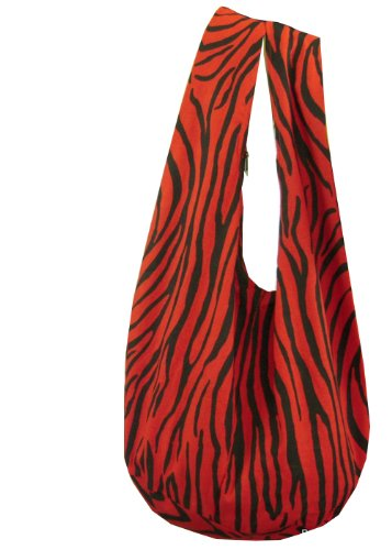 BTP! Hippie Hobo Thai Cotton Sling Crossbody Bag Messenger Purse Zebra Black on Red YZ2 by BenThai Products