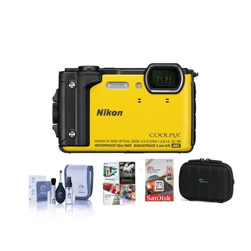 Nikon Coolpix W300 Point & Shoot Camera, Yellow - Bundle with 16GB SDHC Card, Camera Case, Cleaning Kit, PC Software Package