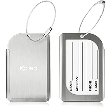 Luggage Tags, Kollea Pack of 2 Aluminum Travel ID Tag Business Card Holder Suitcase Label for Luggage, Bag, Suitcase