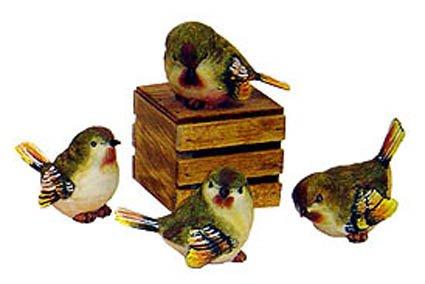 Small bird figurine, green wood warbler, resin, set of 4