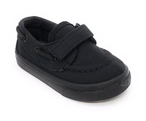 EASY21 Infant Toddler Boat Shoes Loafer Kids Shoes Slip-On,All Black24, (Size7)
