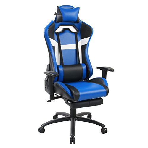 Andeworld Ergonomic Racing Gaming Chairs PU Leather Swivel Office Chairs Recliner Computer Chairs with Lumbar Back, Headrest, Padded Cushion and Footrest Blue Andeworld