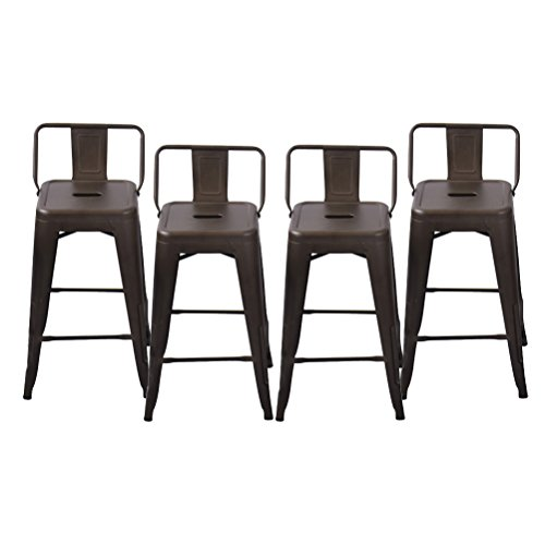 Changjie Furniture Pack of 4 Low Back Gunmetal Counter Bar Stool Indoor-Outdoor Bistro Cafe Bar Stools (24 inch, Low Back (Back Cafe Stool)