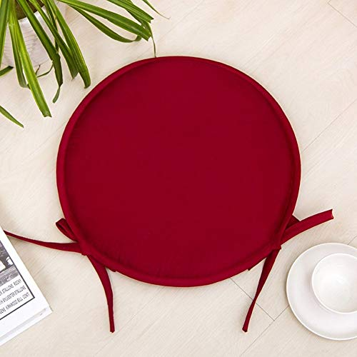 KKLTDI Non-Slip Kitchen Chair Pad, Memory Foam Soft Tatami Seat Cushion with Ties Breathable Chair Cushion for Dining Chair-Crimson-Round 40x2cm(16x1inch)