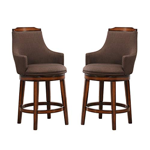 Homelegance Bayshore Swivel Counter Height Arm Chairs (Set of 2), Rustic Oak (Stools Luxury Bar)