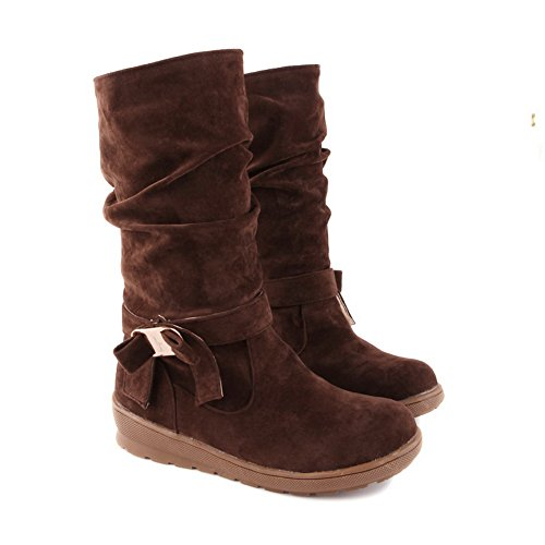 Low Womens Imitated Frosted Solid US Heels Bowknot Round Brown Suede B AmoonyFashion M 6 5 Boots Closed Toe with xIwYWd8