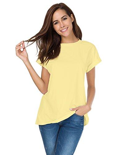 nordicwinds Women's Summer Casual Crew Neck Plain Fit T-Shirt Tops