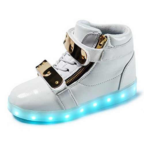 LED Light Up Shoes Fashion Sneaker for Kids Child Boy Girls LED Light up Sneakers (Kids/Adult) White