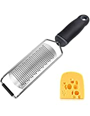 Musment Cheese Grater, Lemon Zester for Kitchen with Handle Stainless Steel - Parmesan Cheese, Chocolate, Garlic, Ginger, Potato, Nutmeg, Fruit, Vegetables, Zester Grater Soft Handheld, Black