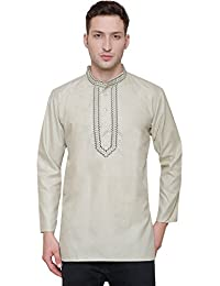 Embroidered Cotton Dress Mens Short Kurta Shirt India Fashion Clothes