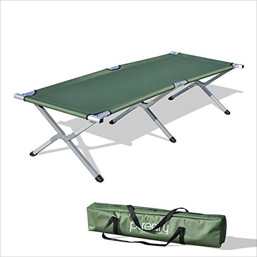 Purenity Folding Military Bed Portable Sport Camping COT With Free Storage Bag (Green) ()