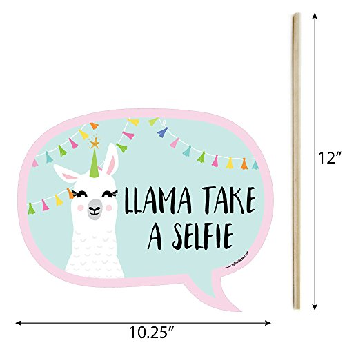 Funny Whole Llama Fun - Llama Fiesta Baby Shower or Birthday Party Photo Booth Props Kit - 10 Piece by Big Dot of Happiness (Image #2)