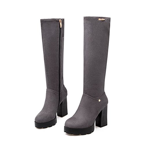 Platform Boots Chunky Heels A Imitated Gray Zipper Suede amp;N Womens wORqOnTxfU