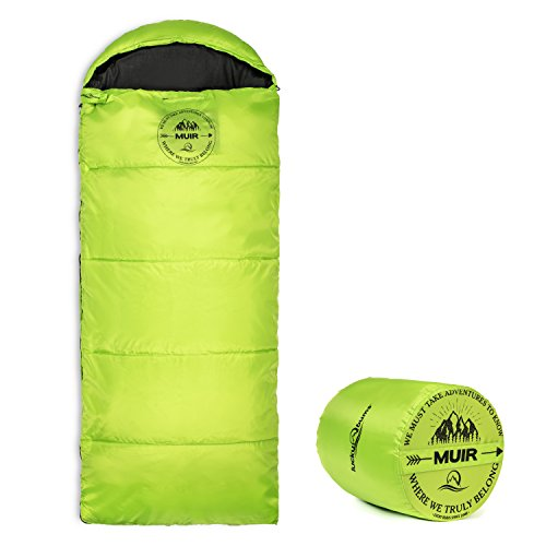 - Lucky Bums Youth Muir Sleeping Bag 40°F/5°C with Digital Accessory Pocket and Carry Bag, Green