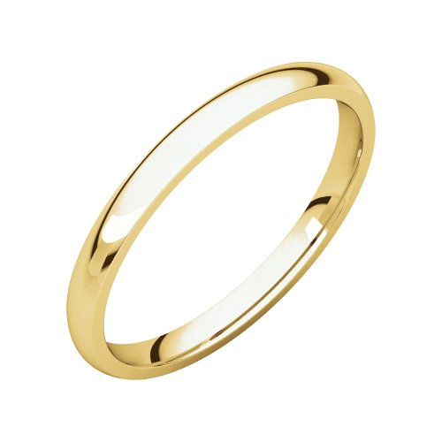 Security Jewelers 14k Yellow Gold 2mm Light Comfort Fit Band, 14kt Yellow Gold, Ring Size 6 ()