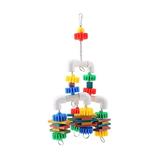 HEEPDD Parrot Chew Toy, Colorful Wooden Blocks Hanging Toy Pet Bird Biting Plastic Tube Toy for Macaw African Grey…