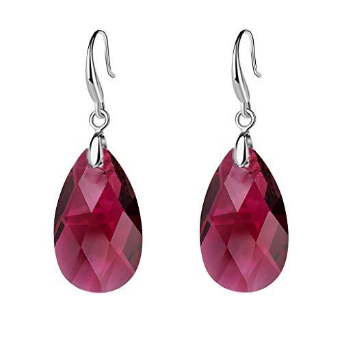 EVEVIC Swarovski Crystal Teardrop Dangle Hook Earrings for Women Girls 14K Gold Plated Hypoallergenic Jewelry (Fuchsia)