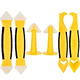 Gejoy 6 Pieces in Total Silicone Caulking Tool Set include Scraper Tools, Sealant Replaces and Caulk Nozzles, Yellow