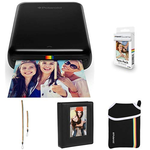 Polaroid Zip Mobile Photo Mini Printer (Black) with Extra Paper, Album, Case, Colorful Neck/Hand Strap