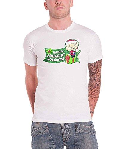 Family Guy Men's Freakin Holidays T-Shirt Small White (Family Guy Best Stewie Episodes)