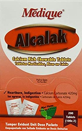 8310574 PT# 10147 Alcalak Tablet Antacid 420mg 100x2/Bx Made by Medique Pharmaceuticals