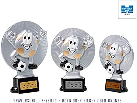 Henecka Fussball-Kinder-Pokal mit Wunschgravur Resinfigur Kids-Fussball Silber mit Gold oder als 3er-Serie w/ählbar in 3 Gr/ö/ßen