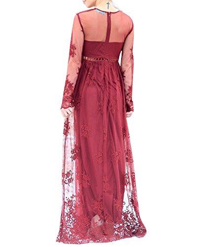 Z Dress Bela Bridesmaid Vintage Beach red Long Summer Sleeve Maxi Chiffon Imily Wedding Women's Long q7pnaAAwOx