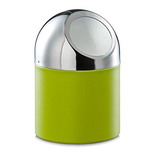 Zeller 27204 Tischabfalleimer, Edelstahl / Metall verchromt, grün