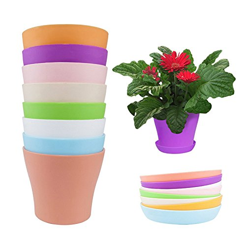 KINGLAKE 8 Pcs 4'' Plastic Plant Flower Seedlings Nursery Pot/Pots Planter Colorful Flower Plant Container Seed Starting Pots with Pallet,8 Colors by KINGLAKE (Image #2)