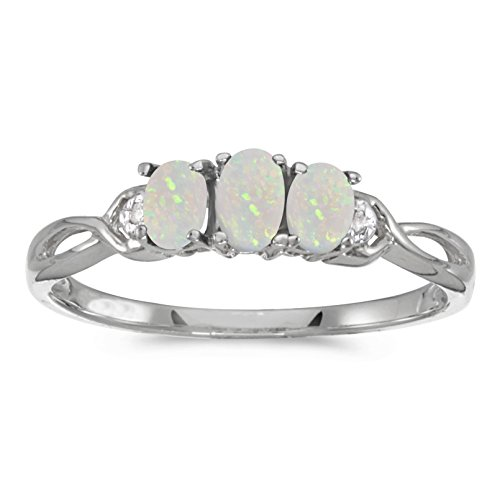0.30 Carat (ctw) 14k Gold Oval White Opal and Diamond 3 Three Stone Infinity Promise Engagement Fashion Ring (5 x 3 MM)