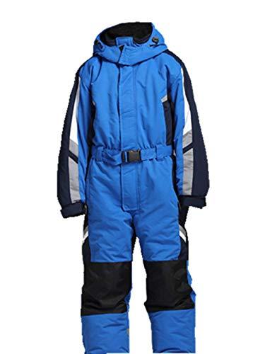Genma0 One-Piece Snowsuit Waterproof Windproof Taslon Reflective for Kids/Boys, Girls (Blue, 14)