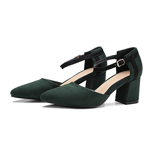 Army Heels Pointed Solid Shoes Toe 41 Frosted Odomolor Buckle Green Pumps Women's Kitten nq4BxvwHS