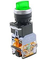 LLMXFC LA38-11XD / 2 Rotary Push-knop Schakelaar met lamp 22mm 2 Positie 3 Positie-vergrendeling LED knop schakelt multicolor optioneel (Color : Green-2 position, Voltage : 220V)