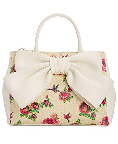 Betsey Johnson Floral Woven Straw Faux Leather Bow Detail Trim Triple Entry Satchel Cross Body Shoulder (Bow Trim Shoulder Bag)