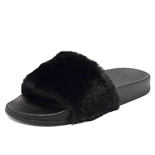 Dames Open Teen Faux Fur Slip Op Flip Flop Zachte Platte Slide Sandalen Zwart
