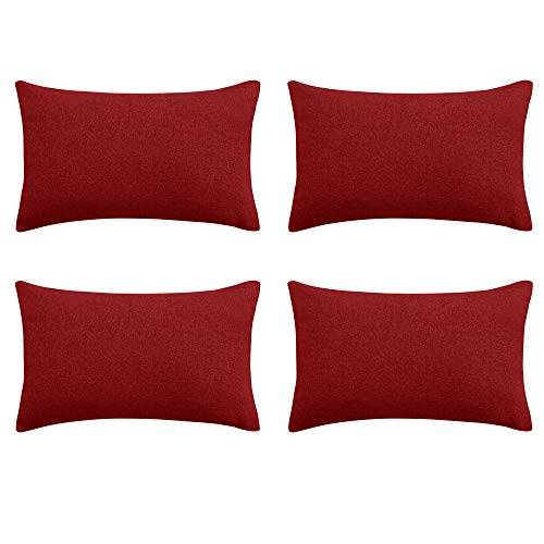 Deconovo Decorative Pillow Cover Red Faux Linen Throw Cushion Cover with Invisible Zipper for Couch 12 x 20 Inch Red Set of 4 No Pillow Insert