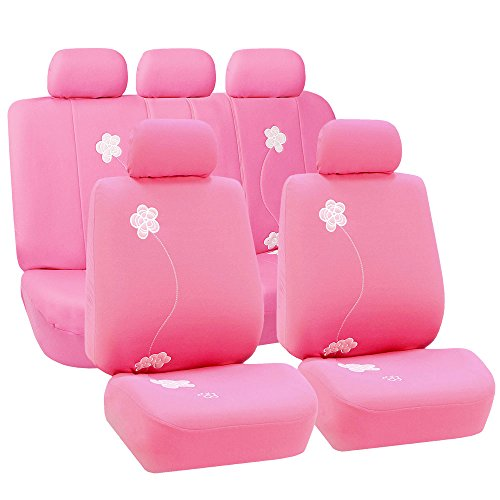 FH Group Universal Fit Full Set Floral Embroidery Design Car Seat Cover, (Pink) (FH-FB053115, Airbag compatible and Split Bench, Fit Most Car, Truck, Suv, or Van) (Pink Truck Seat Covers)