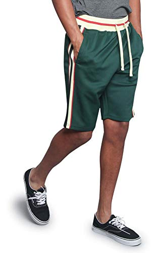 (Victorious Men's Triple Tone G Side Stripe Waistband Drawstring Track Shorts JS26 - Green - 5X-Large -)