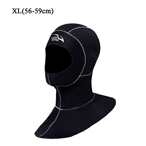 (AllGreen Wetsuits Premium Neoprene 3mm Vented Bib Hood - UV Protection Surf Hoodies Dive Cap for Scuba Diving, Snorkeling and Watersports for Men Women,XL)