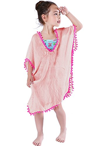 MissShorthair Fashion Girls Cover-ups Swimsuit Wraps Beach Dress Top with Pompom Tassel, One Size,7 Pink